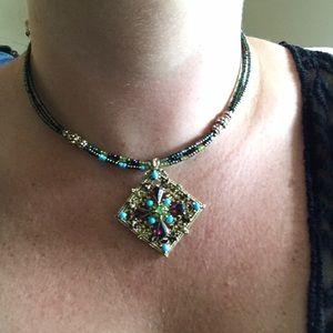 "Beaded necklace choker jewel pendant 16"""